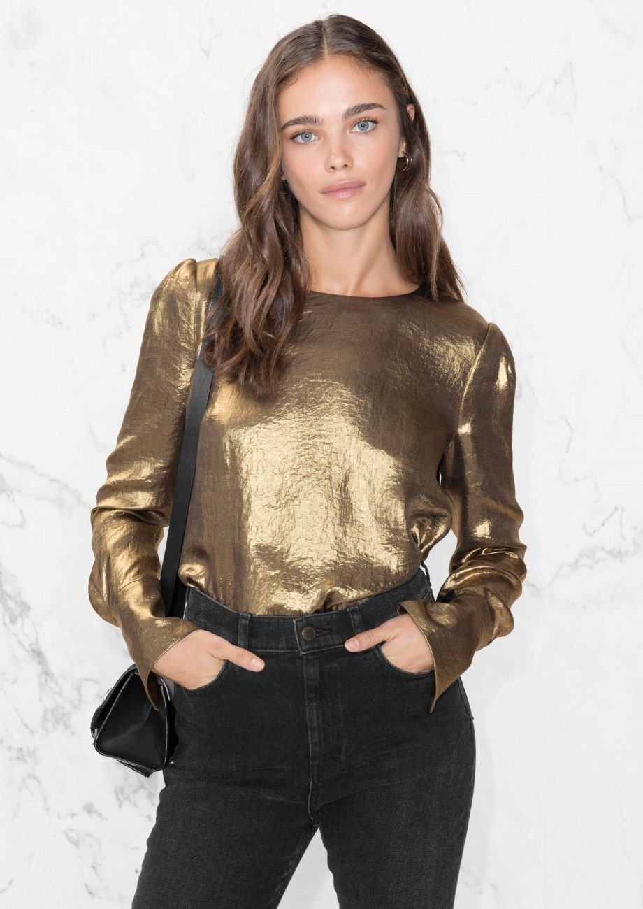 66bed1881b9bc   Other Stories image 2 of Metallic Satin Blouse in Gold