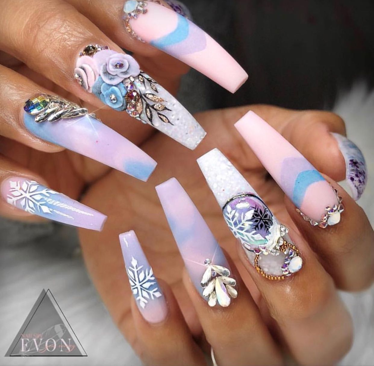 Pink Blue Purple Diamond Design Square Nails Pin: @amerishabeauty ...