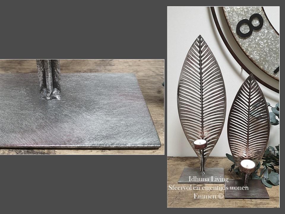Woonaccessoires Waxinehouders metaal bladvorm set van 2 Antiek grijs #woonaccessoires