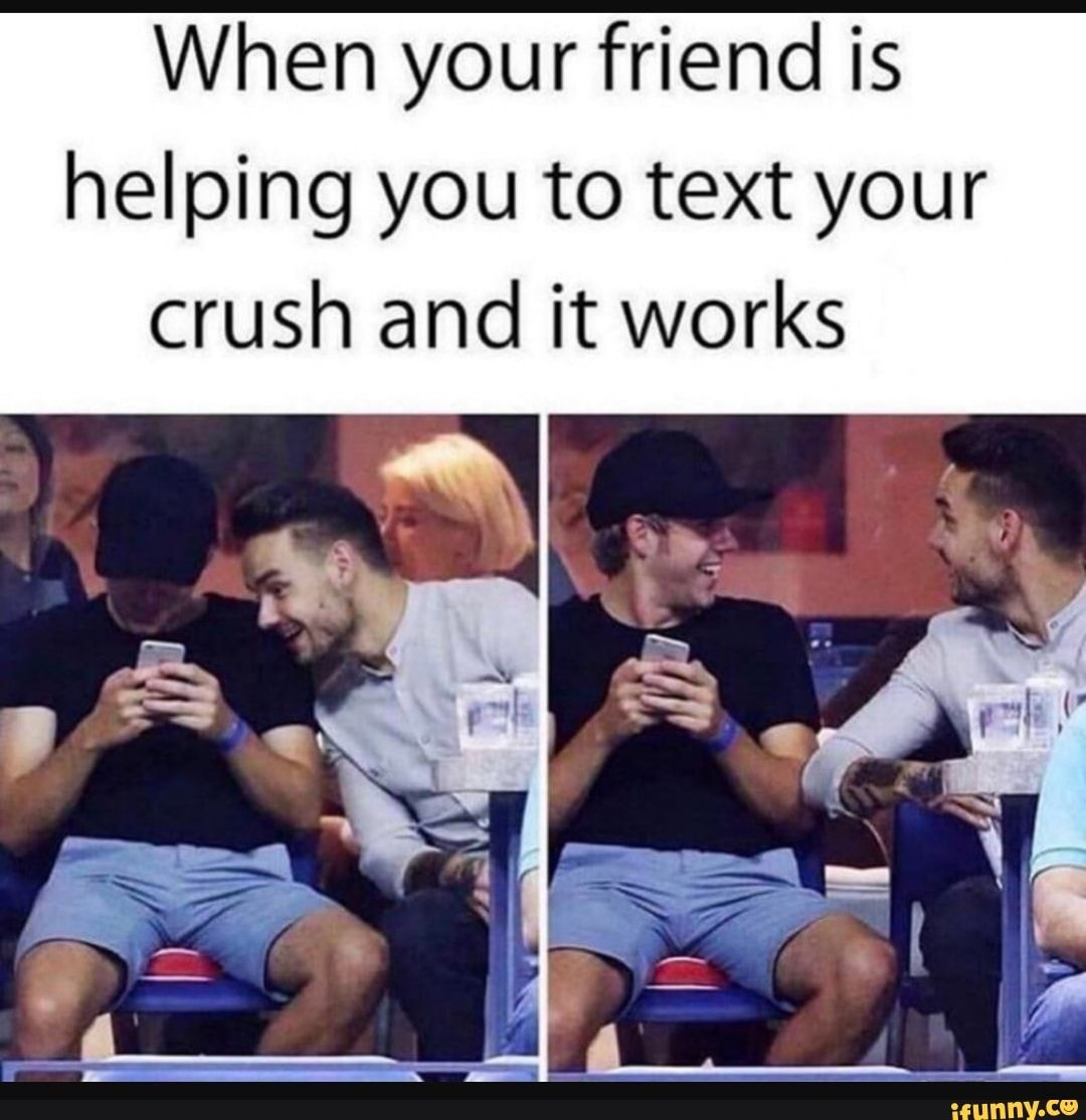When Your Friend Is Helping You To Text Your Crush And It Works Ifunny Friendship Memes Funny Crush Memes Funny Relatable Memes