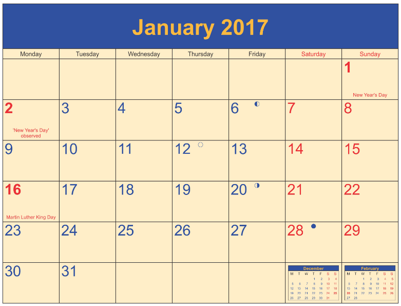 What's Open on New Year's 2019 Moon phase calendar