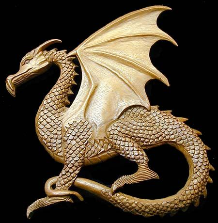 wood carved Dragon. http://www.curiogrove.com/celtic_wall/CWP004.htm