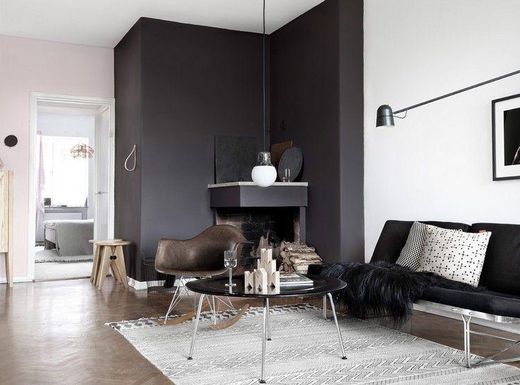 wohnzimmer wand schwarz streichen ecke kamin #innendesign