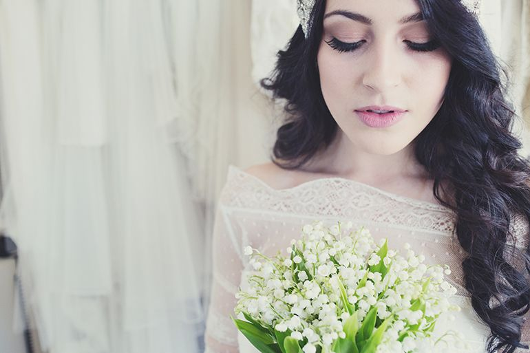 Shoot styling and design Love Scarlett. Make up and hair Elbie Van Eeden, photography by Lisa jane. Lily of the Valley bouquet by Sadie Rose. Wedding dress Mirror Mirror bridal.