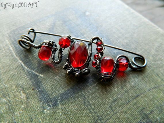 Sterling Silver Brooch.  Artisan Sterling Silver and Red Bead Shawl Pin.  Fall Fashion Pin. on Etsy, $52.00