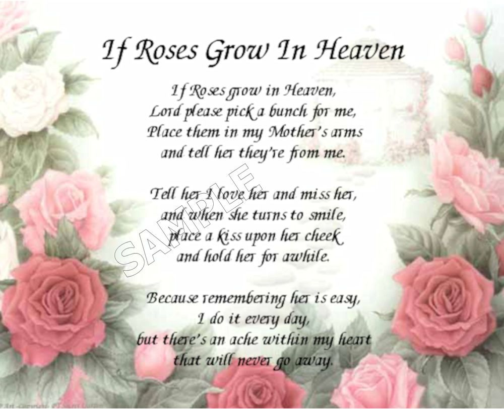 If Roses Grow In Heaven Mothers Personalized Art Poem Memory Gift