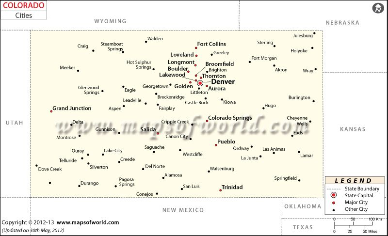 Colorado City #Map showing major cities and towns in the US ...