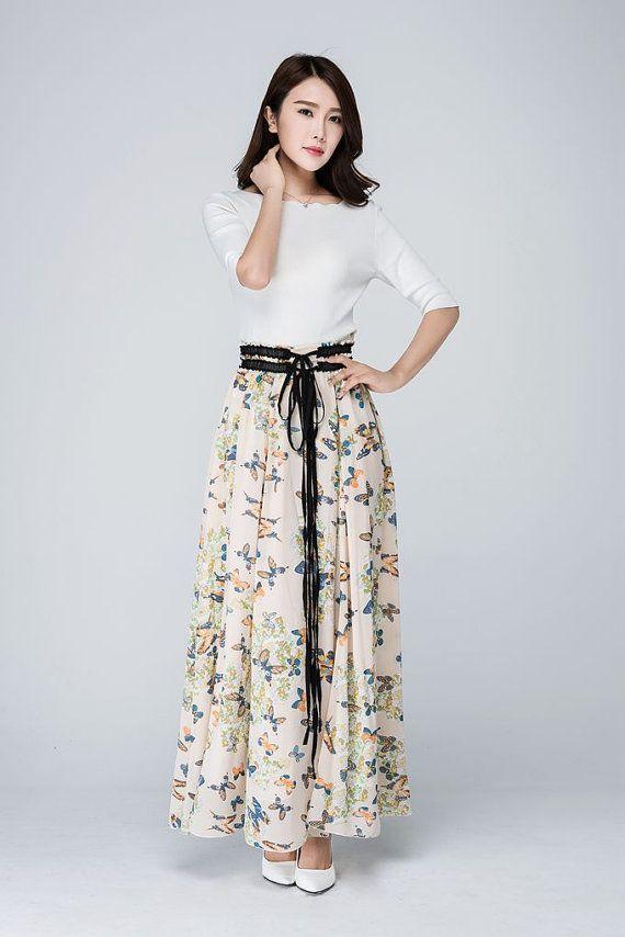 Maxi chiffon skirt swing skirtwomens skirtslong by xiaolizi