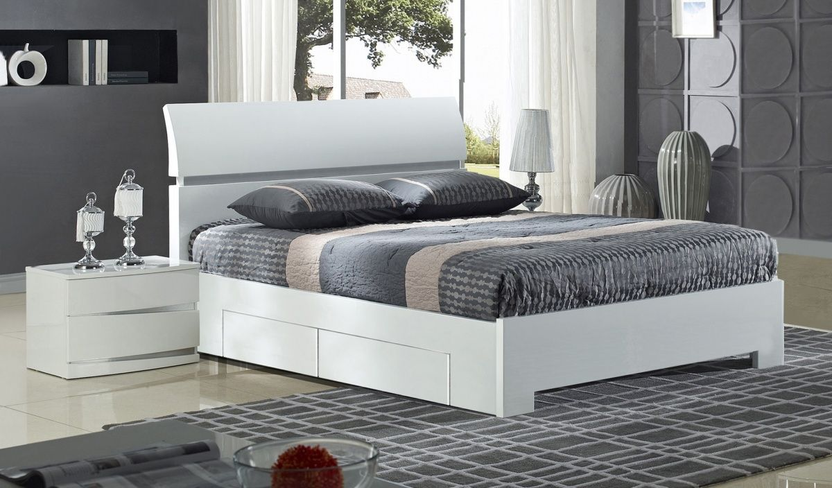 Widney 4 Drawer White King Size Bed White Wood Bedroom Furniture