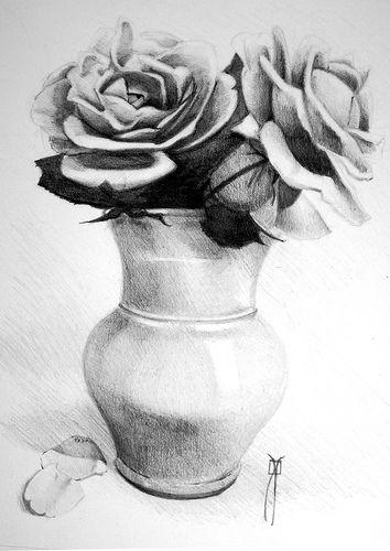 Florero con rosas | Cuaderno de viaje | Pinterest | Dibujos a lápiz ...