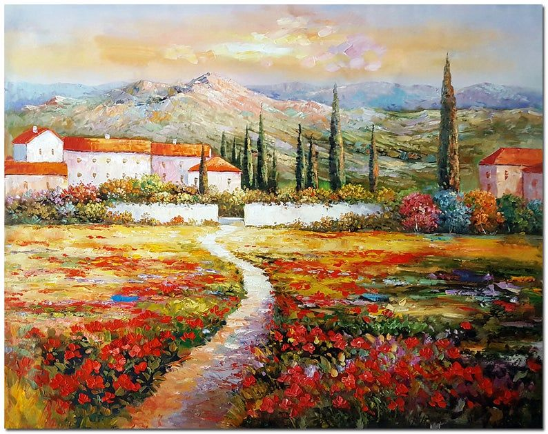 Signed Hand Painted Tuscany Fields Mountain Landscape Oil Painting On Canvas Modern Impressionist Fine Art Certificate Included Oil Painting Landscape Mountain Landscape Oil Painting On Canvas