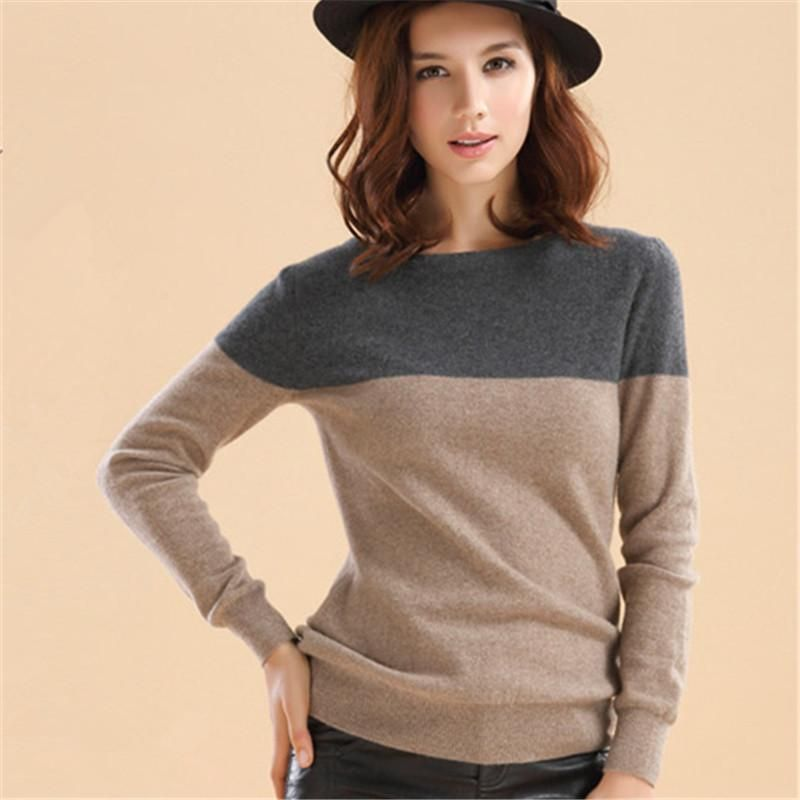 Autumn Winter Cashmere Sweater Women Patchwork Pullovers O-Neck ...