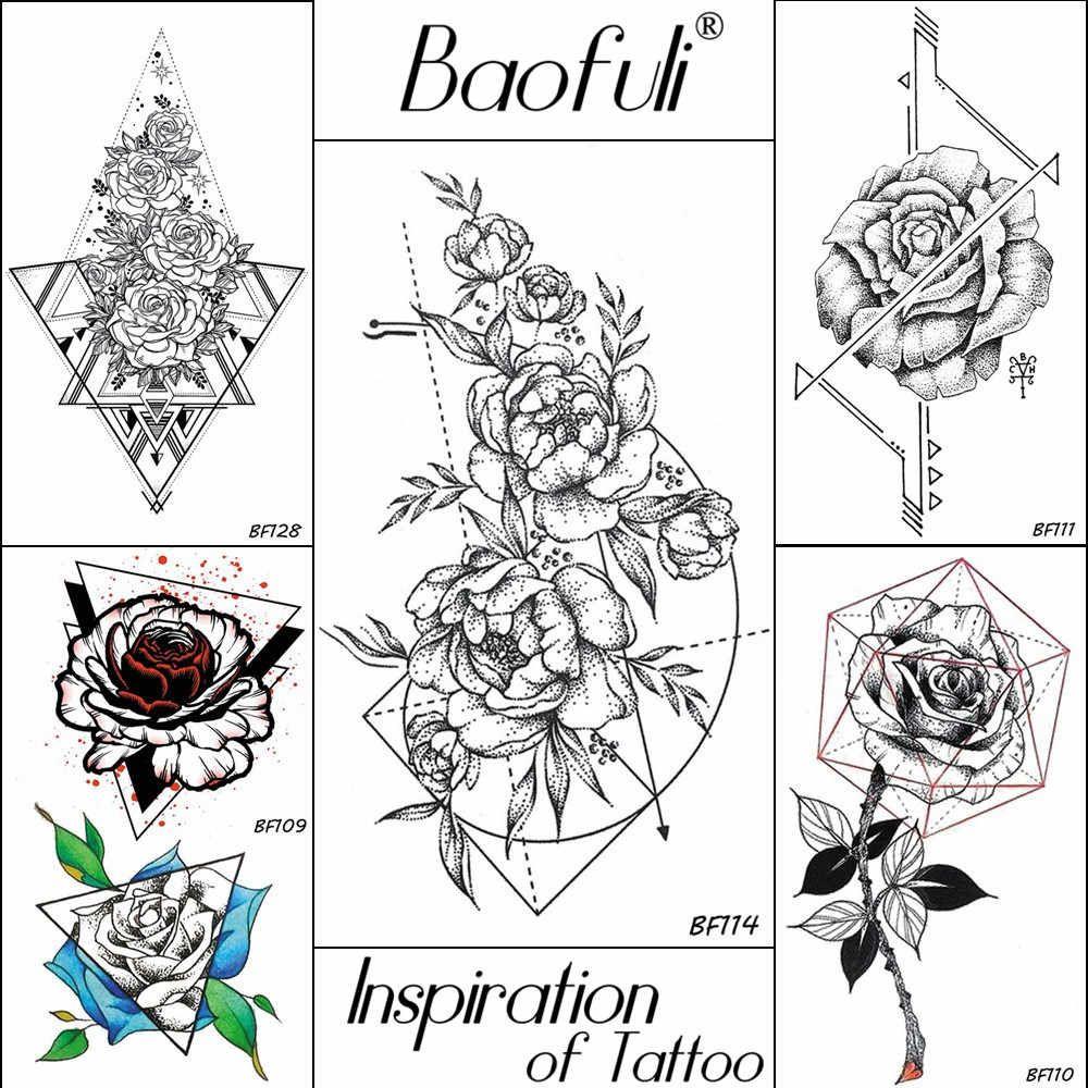 be5ee2e93994 Baofuli эскиз художественная Татуировка Роза Геометрическая оставьте ...