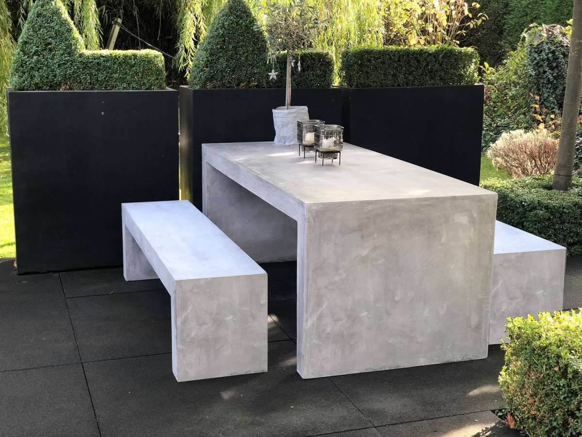Beton Esstisch Set 3 Teilig U Form Betongrau In 2020 Esstisch Gartentisch Betontisch