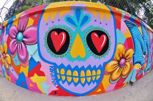 Street art in mexico sugarskull neon graffiti day of for Day of the dead mural