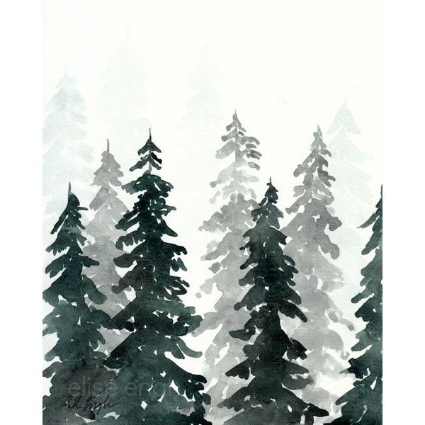 Winter Forest Original Watercolor Painting 8x10 Pine Trees