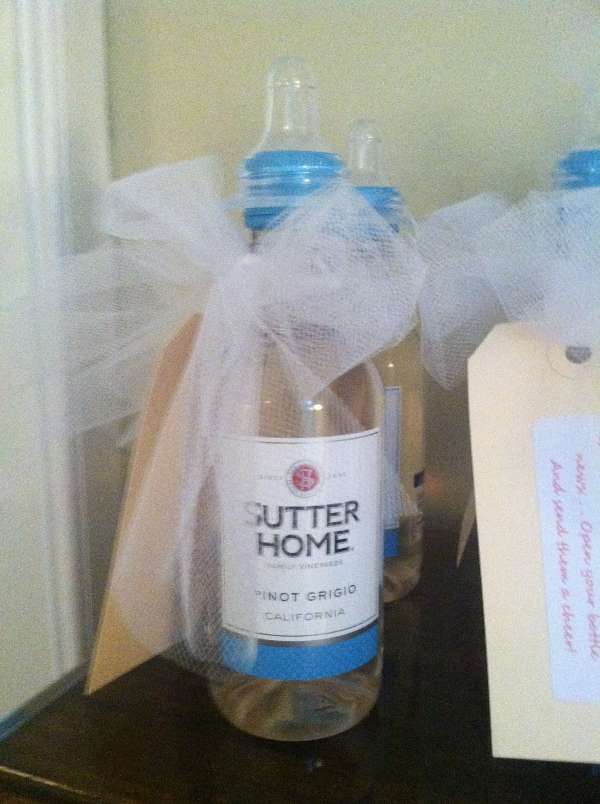 Mini Wine Bottle Favors With Baby Nipple Baby Shower