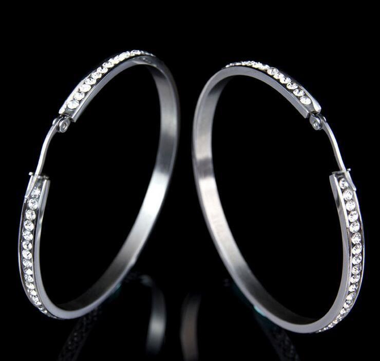 b1de287ba Hiphop Silver Color Stainless Steel Crystal Hoop Earrings for Women Girls  Ladies Earrings for Sensitive Ears No fade Color