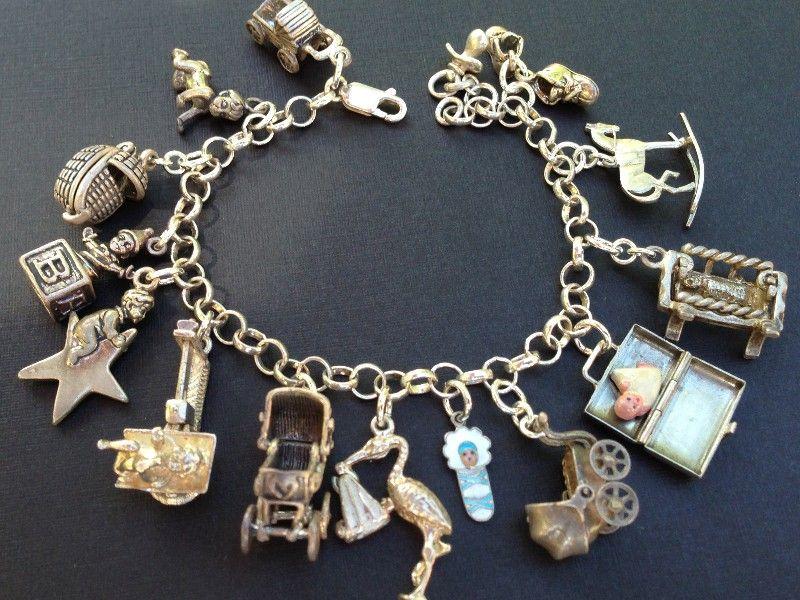 Vintage Charm Bracelet Collection Baby Silver Amp Enamel