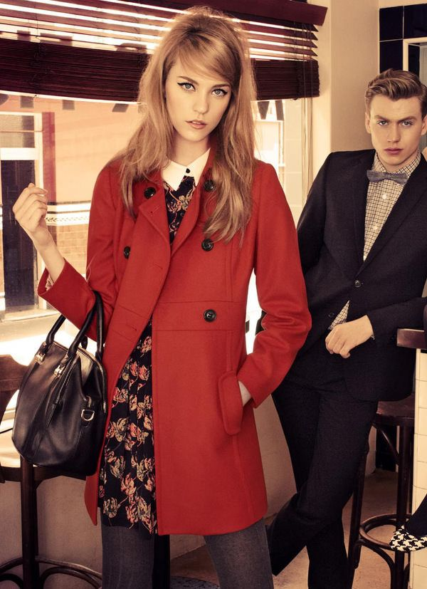 60 s side swept hair + red coat + mod dress with white collar More 36cfa12e1b6