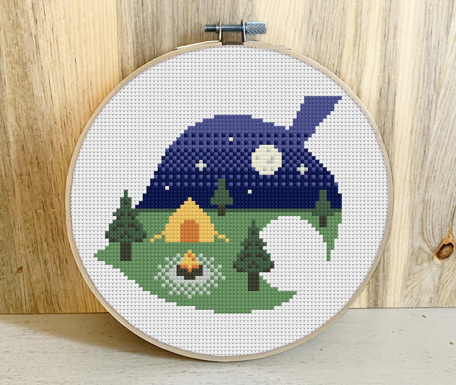 Photo of Animal Crossing Campsite Cross Stitch Pattern | PDF Download