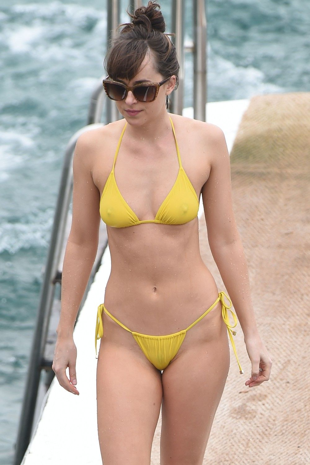 Yellow bikini see through was