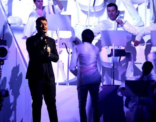 Sam Smith performs at the Brit Awards at O2 Arena in London Feb. 25. (Joel Ryan/Invision/AP)