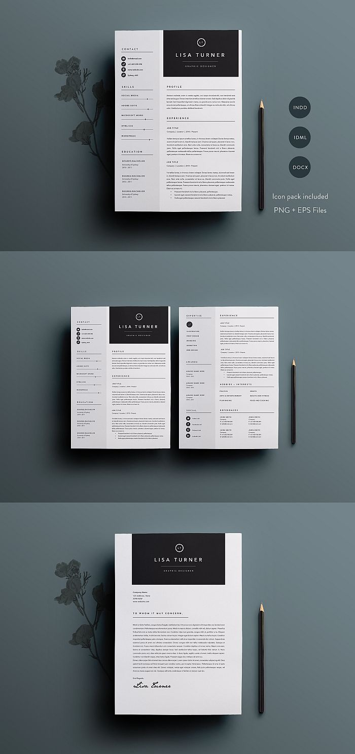 3 Page Resume Template Indd Docx Template