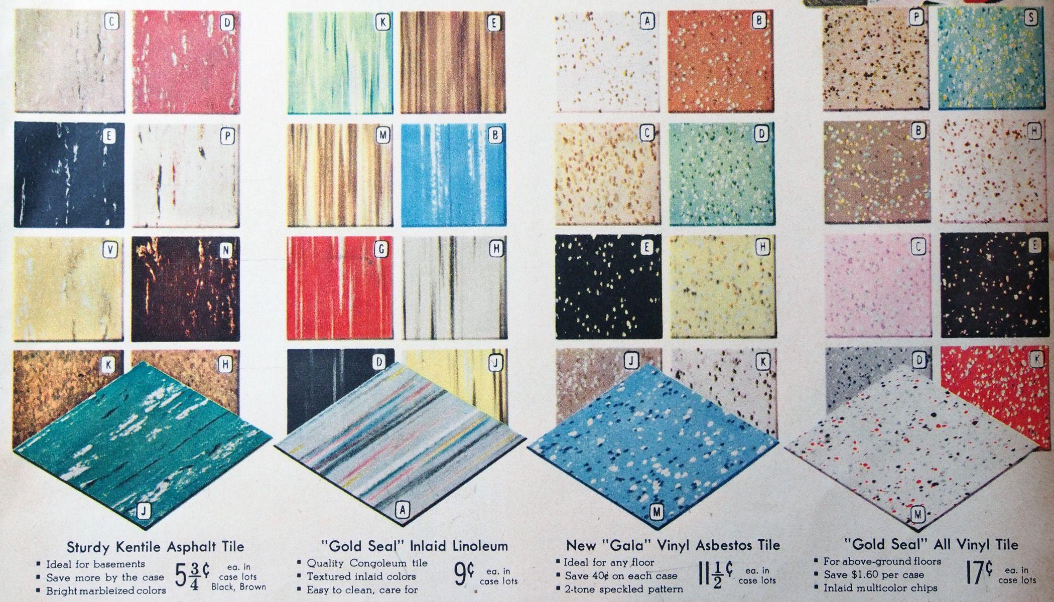 Vintage flooring options, 1950s Spiegel catalogue