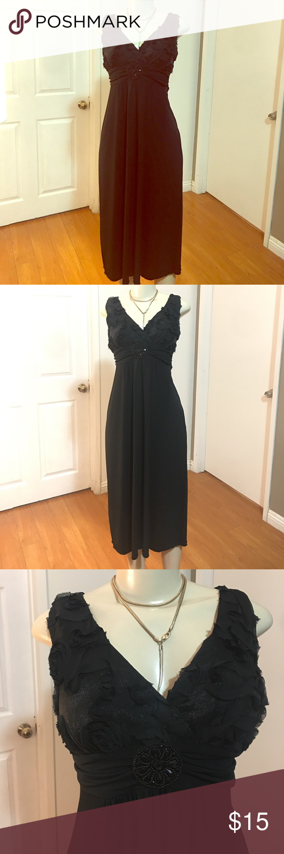 Deep V Neck Party Dress Dress is in very good condition. Size 8. En focus brand. Not lined but doesn't need lining. Light weight. Polyester/spandex blend fabric. Dress doesn't have hem done but doesn't need it. Measurements: Chest 17 inches, waist 14.5 inches, length 42.5 inches. Enfocus Dresses Midi