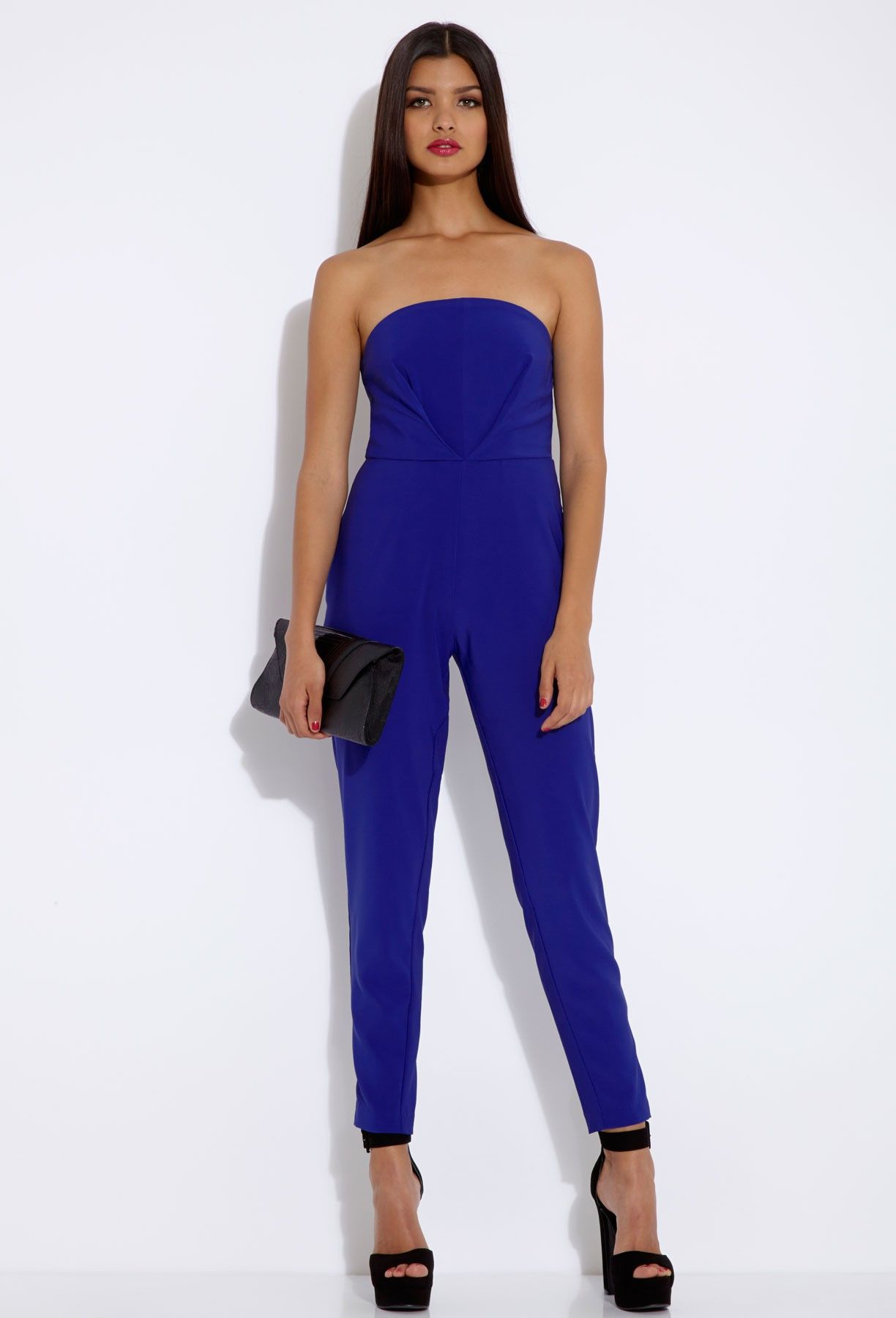 This is a fun bright blue jumpsuit. It is a very classy piece that ...
