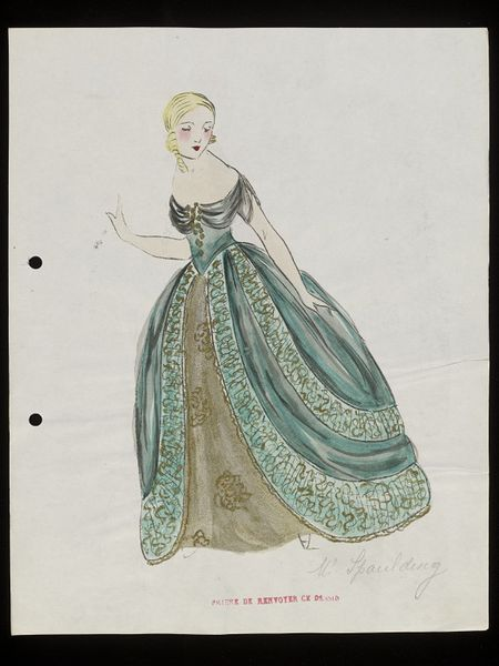 Design for a theatre costume | Jean-Charles Worth | V&A Search the Collections