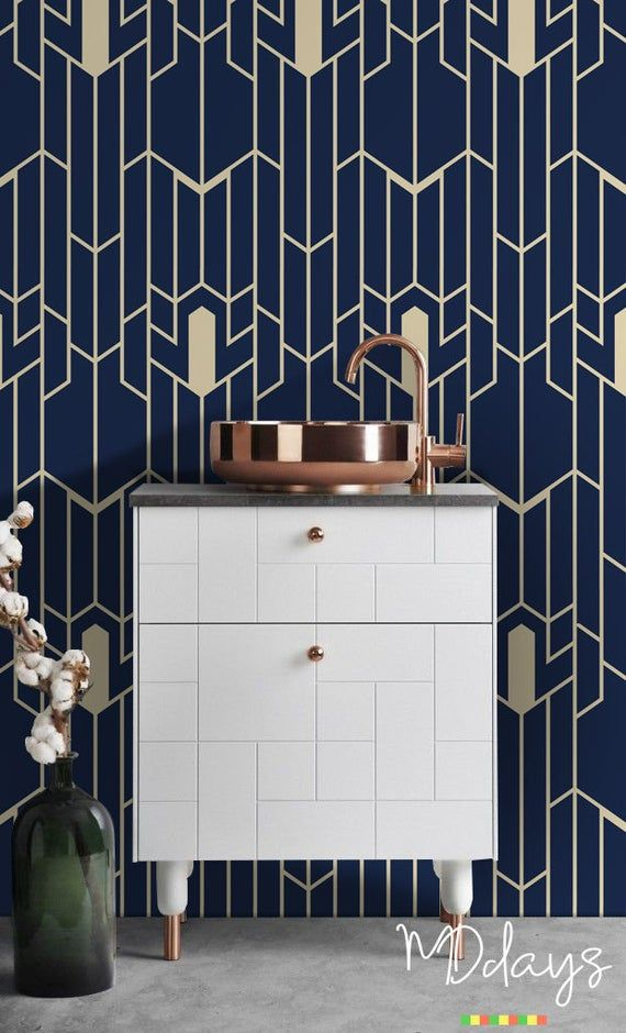 Geometric pattern removable wallpaper, Navy and gold wall