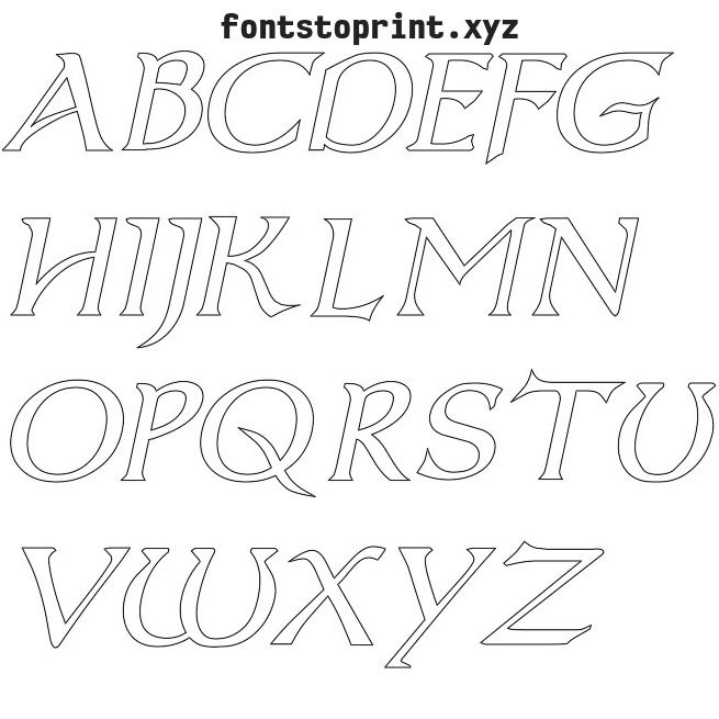 Printable Alphabets Applique Font Lined Uppercase  Free Alphabet