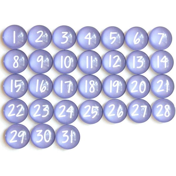 31 Purple Calendar Number Glass Magnets ($35) ❤ Liked On Polyvore Featuring  Home,
