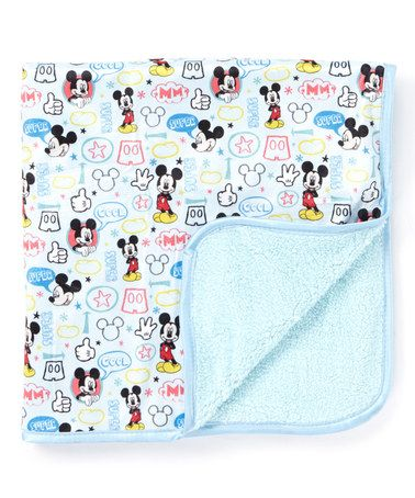 Blue 30 X 30 Mickey Mouse Mink Sherpa Receiving Blanket Blue Baby Blanket Baby Disney Print Blanket