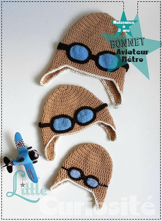 Bonnet Bébé Fait-main - Crochet - Pilote Aviateur Rétro - Modèle Original -  Cadeaux de Naissance à 3 ans fe604e9de6b