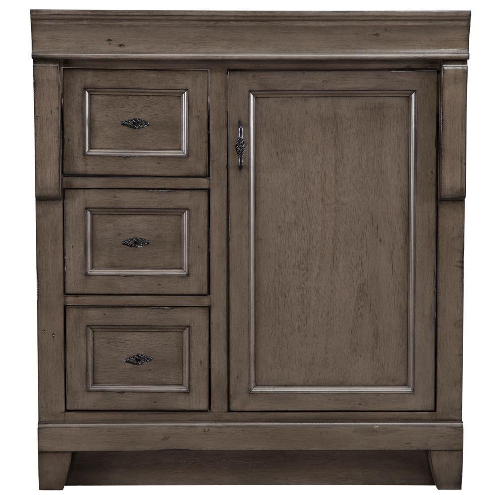 Home Decorators Collection Naples 30 In W Bath Vanity Cabinet Only In Distressed Grey With Left Hand Drawers Nadga3021dl The Home Depot Home Decorators Collection Vanity Cabinet 30 Inch Vanity