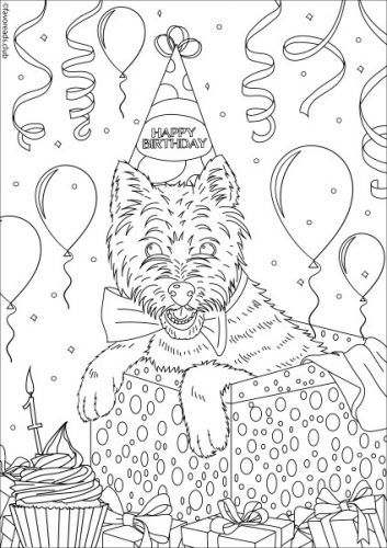 Cats and Dogs - Birthday Dog | Horse coloring pages ...