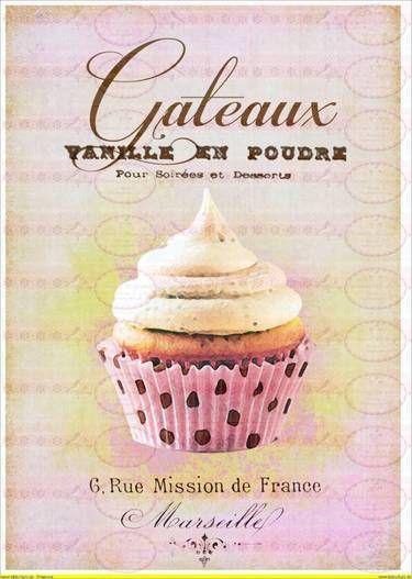 Vintage Shabby Chic french Paris Cupcake   Decoupage ...
