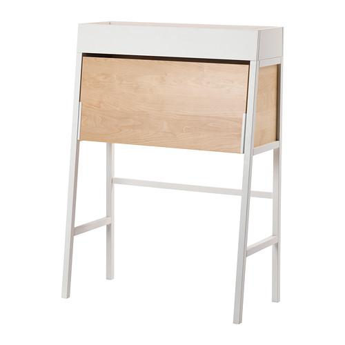 IKEA - IKEA PS 2014, Kirjoituslipasto, valkoinen/koivuviilu, , Valmiit aukot johtoja varten.Työskentelyn päätteeksi tietokone ja paperit on helppo piilottaa lipaston sisään laittamalla kansi kiinni.