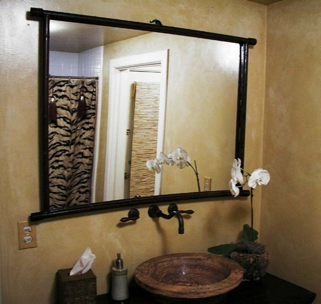 Faucet Large Black Wooden Bathroom Mirror Large Bathroom Mirrors