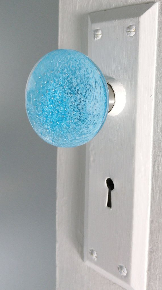 Turquoise blue hand blown glass art door knob, aqua and bubbles on ...