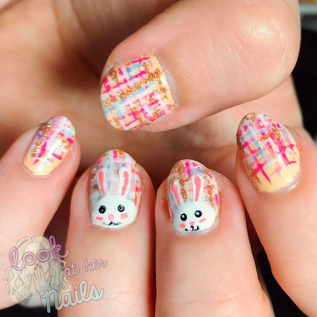 Easter bunny tweed nail art By Look At Her Nails! | Look At Her ...