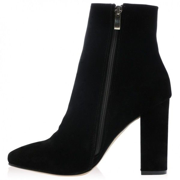 c2460b8c322 Presley Ankle Boots in Black Faux Suede ❤ liked on Polyvore ...