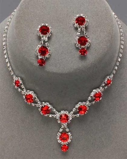 Red Jewelry Sets : jewelry, Accessories, Peaches, Boutique, Crystal, Costume, Jewelry,, Girly, Beautiful, Jewelry