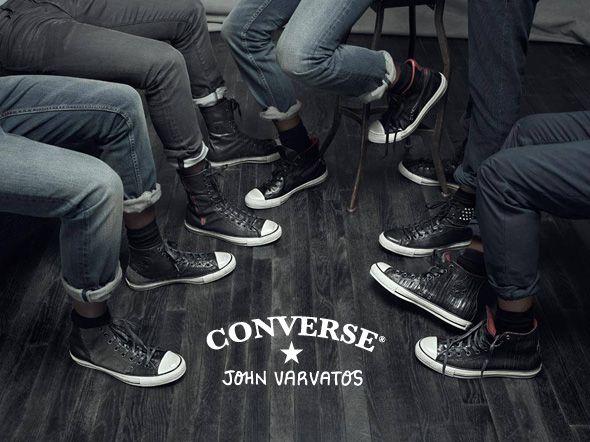 Sneakers Converse by John Varvatos en cuir noir avec couture