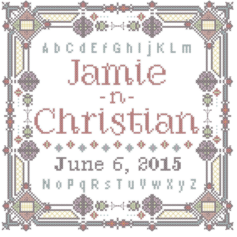 Wedding sampler/wedding cross stitch/cross stitch sampler/modern ...