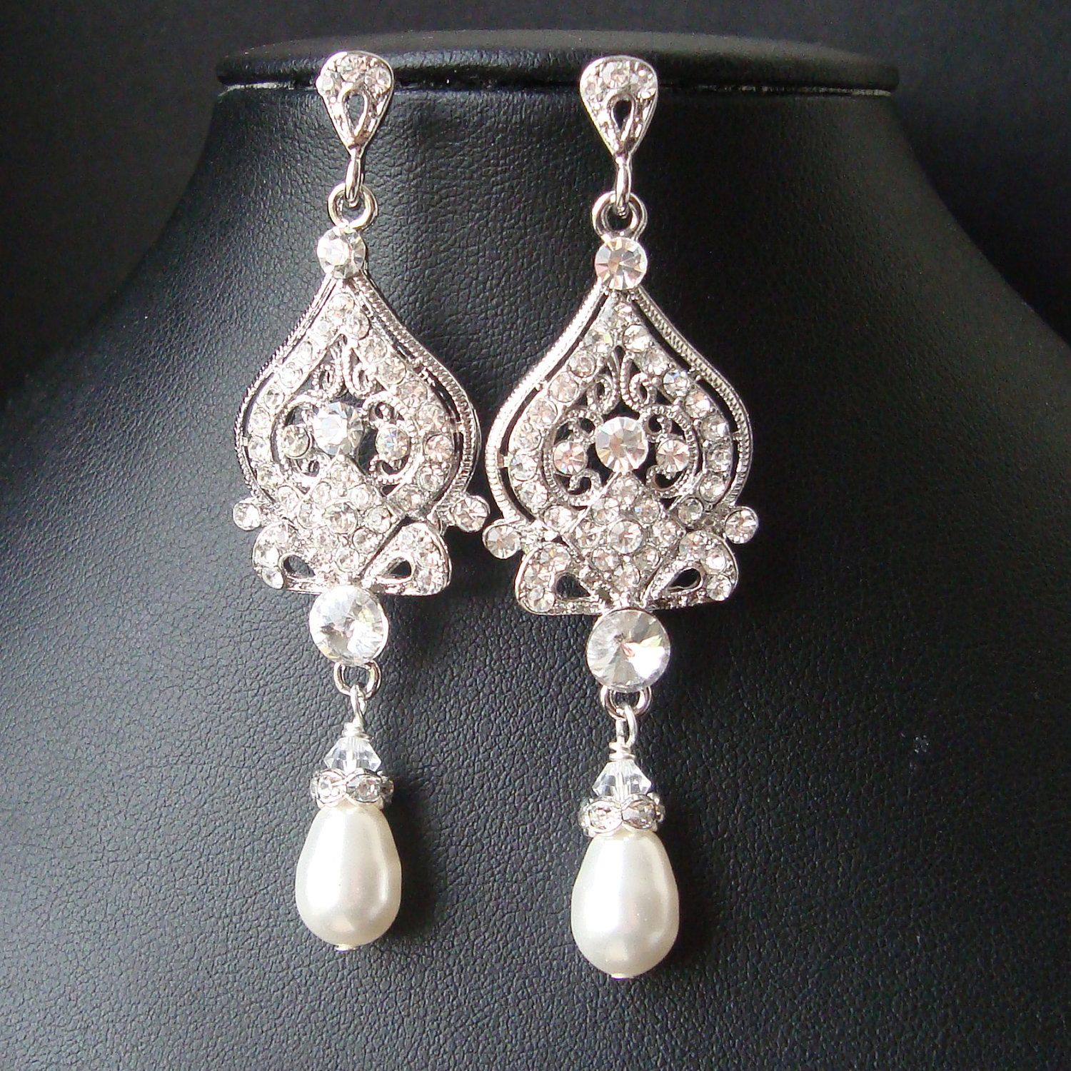 Chandelier bridal earrings vintage wedding earrings pearl drops chandelier bridal earrings vintage wedding earrings pearl drops art deco bridal jewelry old hollywood wedding jewelry jacqueline arubaitofo Choice Image