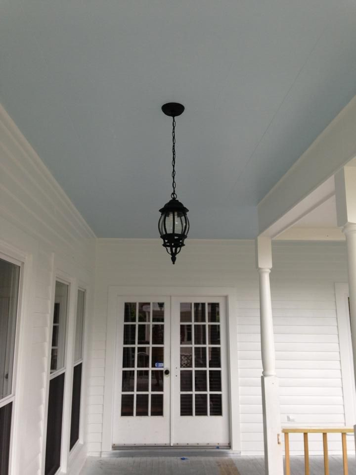 My blue porch ceiling the color is atmospheric from for Sherwin williams ceiling paint colors